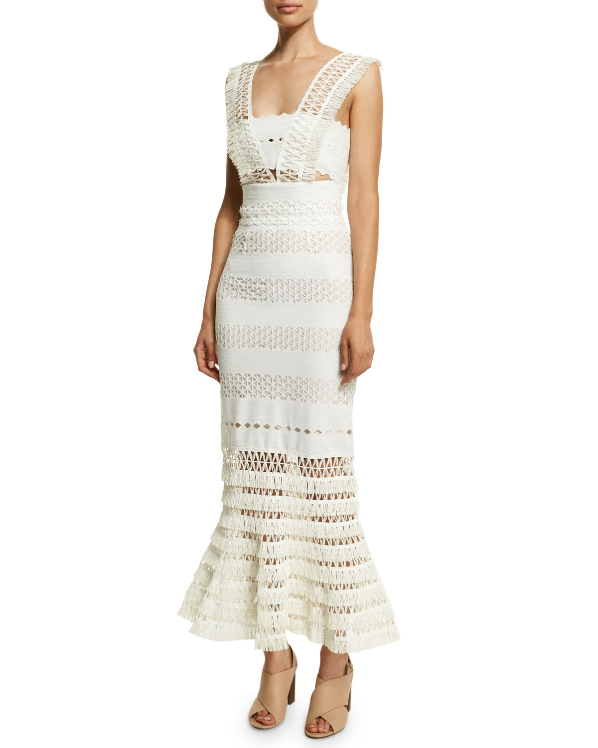 Mechanical Macrame Gown, Ivory