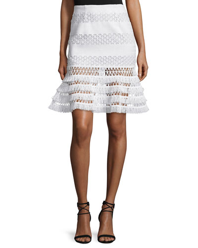 Mechanical Macrame Lace Flare Skirt, Ivory