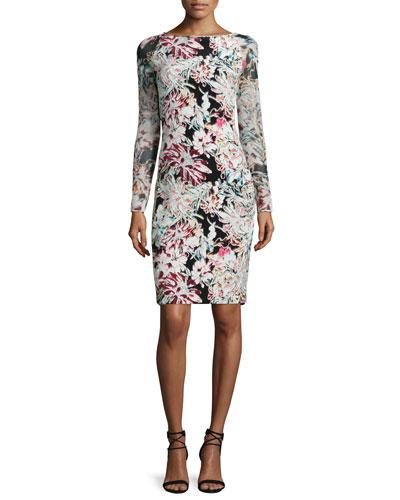Renee Long-Sleeve Floral Pencil Dress, Black/Multicolor