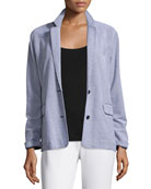 Two-Button Pique Boyfriend Jacket, Plus Size