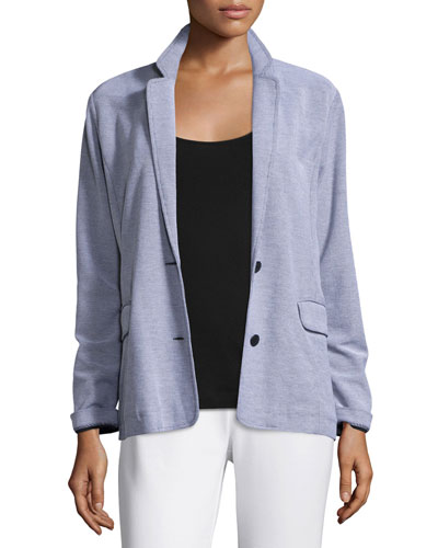 Two-Button Pique Boyfriend Jacket, Plus Size
