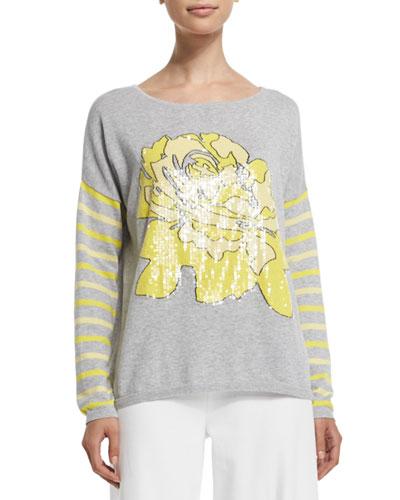 Rose/Striped Sweater, Petite