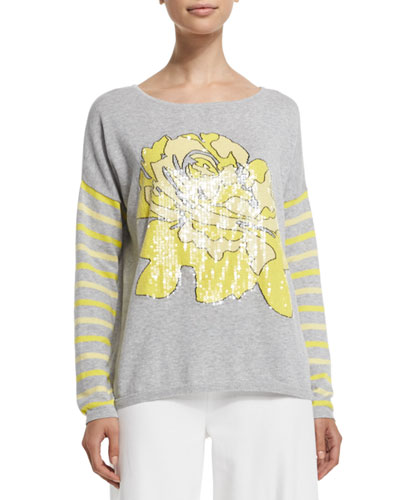 JOAN VASS Rose/Striped Sweater, Plus Size in H Grey/Yellow