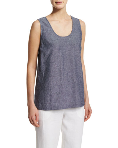 Sleeveless Cross-Dye Linen Tank, Petite