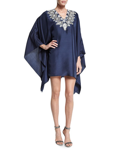 Long-Sleeve Embroidered-Neck Caftan Dress, Navy