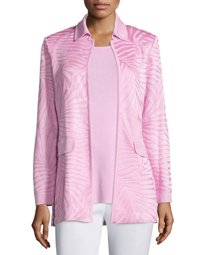 Long Textured Open-Front Jacket, Petite