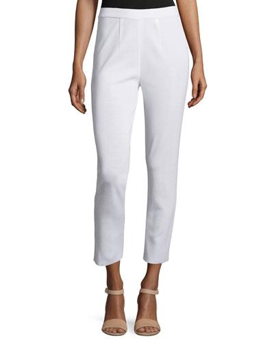 Slim Knit Ankle Pants, White, Petite