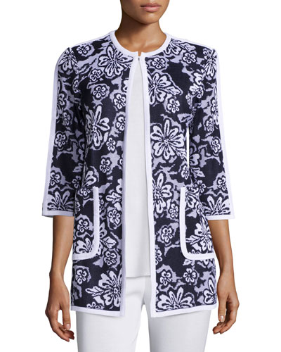 Floral-Print 3/4-Sleeve Jacket, Plus Size