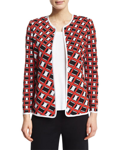 Graphic-Print Short Jacket, Plus Size