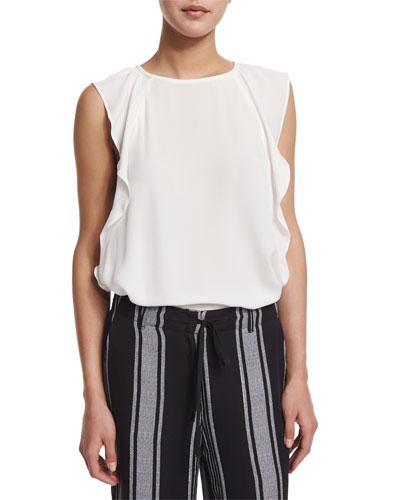 Hiatte Ruffled-Side Silk Top