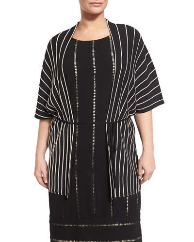 Mito Short-Sleeve Striped Belted Jacket, Plus Size