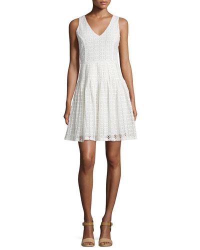 Pruitt Sleeveless V-Neck Eyelet Dress, Porcelain