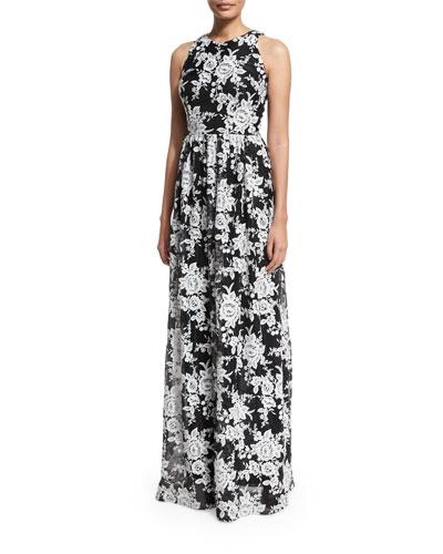 Sleeveless Crewneck Floral Chiffon Gown, Black/White
