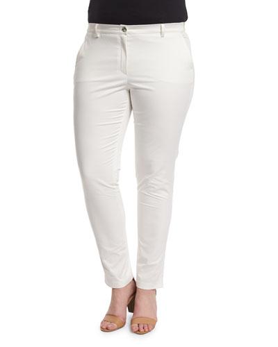 Renzo Low-Rise Slim Pants, White, Plus Size