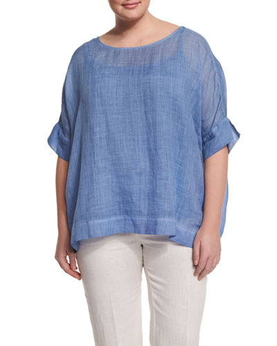 Bernini Short-Sleeve Ramie Shirt, Plus Size