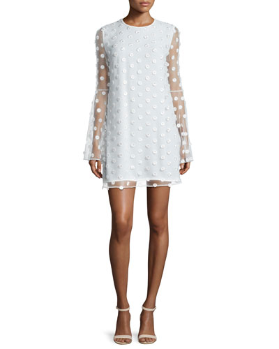 Bell-Sleeve Swiss Dot Cocktail Dress, Creme