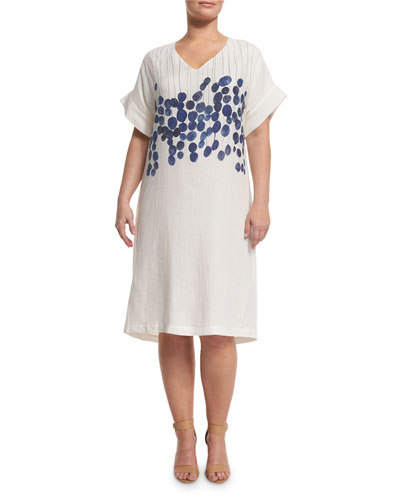 Diretto Short-Sleeve Floral-Print Linen Dress, Plus Size