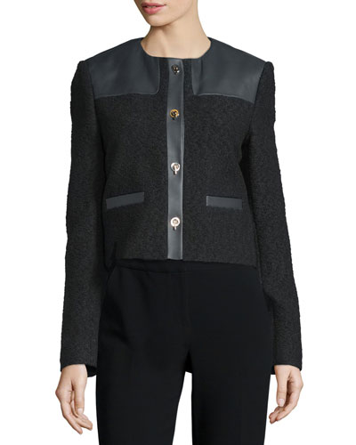 Button-Front Combo Boucle Jacket, Black