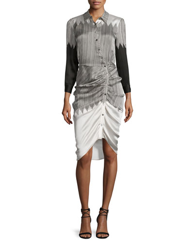 Clara Ruched Silk Shirtdress, Black/White