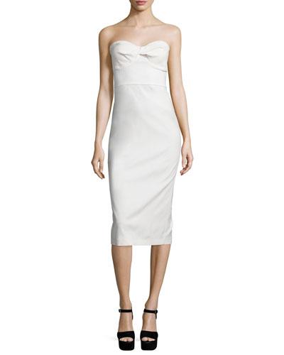 Edelia Strapless Bustier Dress, White