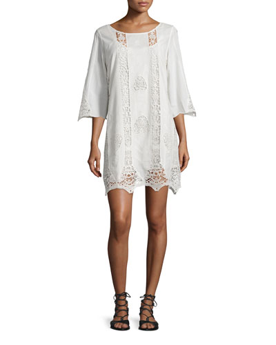 Anina 3/4-Sleeve Crochet-Inset Dress, Ivory
