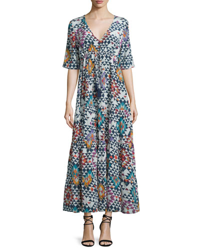 Kalila Geometric-Print Maxi Dress, Multi Colors