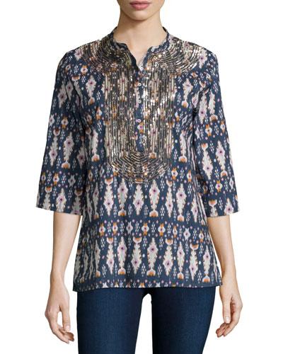Jasmine Half-Sleeve Ikat-Print Silk Blouse, Bora Bora