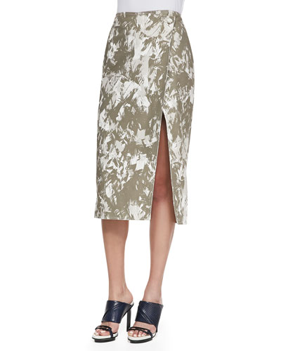 Brushstroke-Print Midi Wrap Skirt, Army Multi