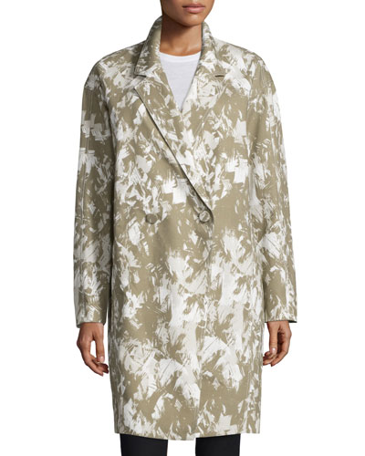 Double-Breasted Printed Long Coat, Army/Multi