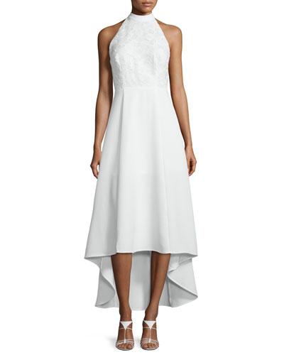 All Talk Halter-Neck High-Low Dress, Ivory