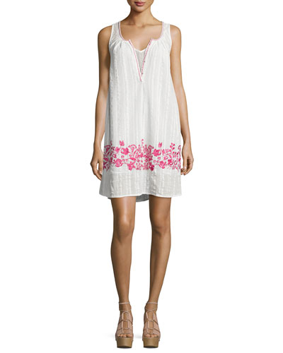 Alison Floral-Embroidered Shift Dress, Ivory/Fuchsia