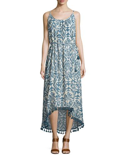 Lena Sleeveless Ikat-Print Midi Dress, Denim/Ecru