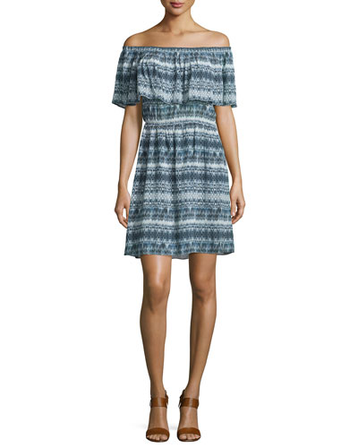 Adalyn Off-The-Shoulder Dress, Blue/Multi
