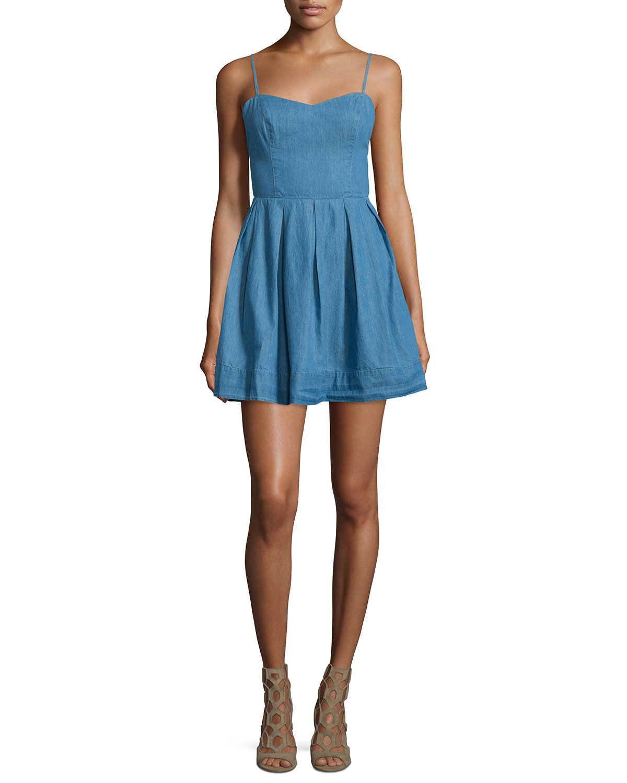 Sandy Fit-&-Flare Denim Dress, Lagoon Blue