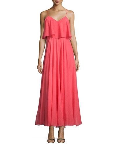 Sleeveless Flounce-Bodice Dress, Coral