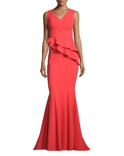 Farida Sleeveless Asymmetric Ruffle Mermaid Gown, Tomato