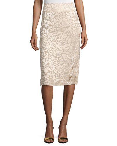 Floral-Embroidered Pencil Skirt, Parchment