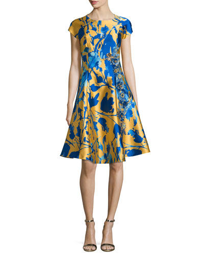 Short-Sleeve Floral Jacquard Fit & Flare Dress