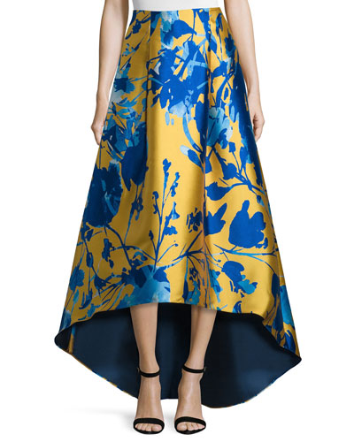 Floral Jacquard High-Low Skirt, Citrine