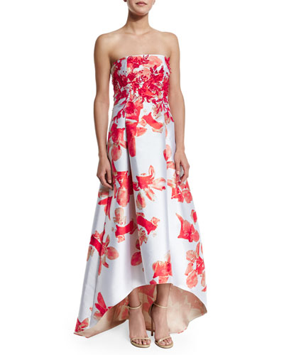 Strapless Floral-Print High-Low Midi Dress
