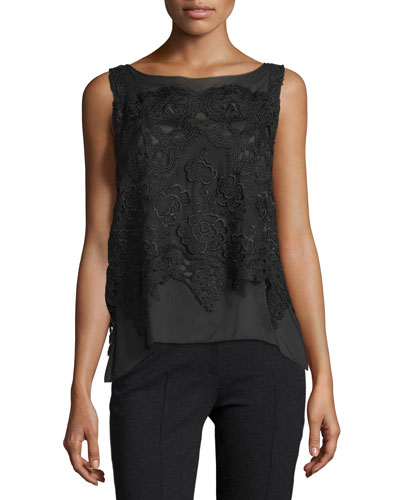 Sleeveless Bateau-Neck Macrame-Overlay Top, Black