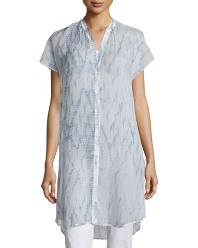 Cap-Sleeve Button-Front Shibori Tunic, Mulberry