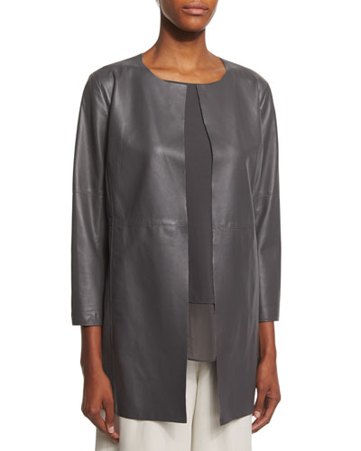 Fisher Project Draped Lightweight Leather Jacket, Bark