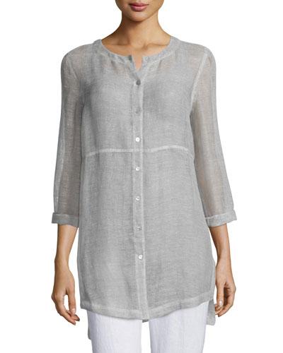Long-Sleeve Button-Front Linen Mesh Top, Opal