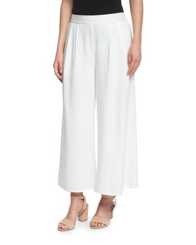 Woven Tencel® Grain Wide-Leg Cropped Pants, White