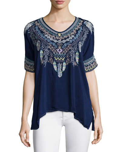 Xander Short-Sleeve Embroidered Poncho Top, Petite