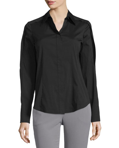Open-Sleeve Collared Blouse, Black