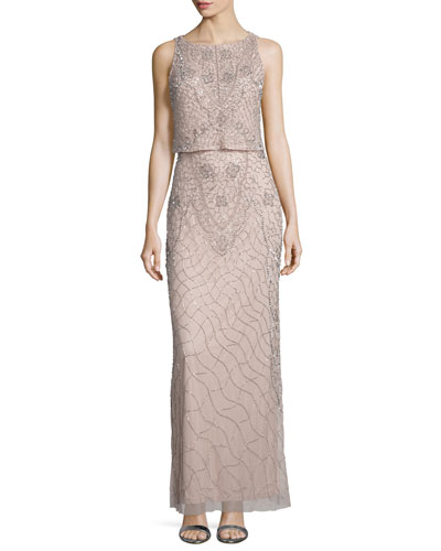 Sleeveless Popover Embellished Gown, Blush