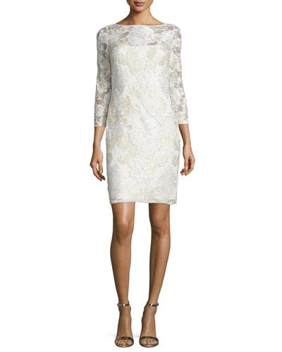 3/4-Sleeve Lace Sheath Cocktail Dress