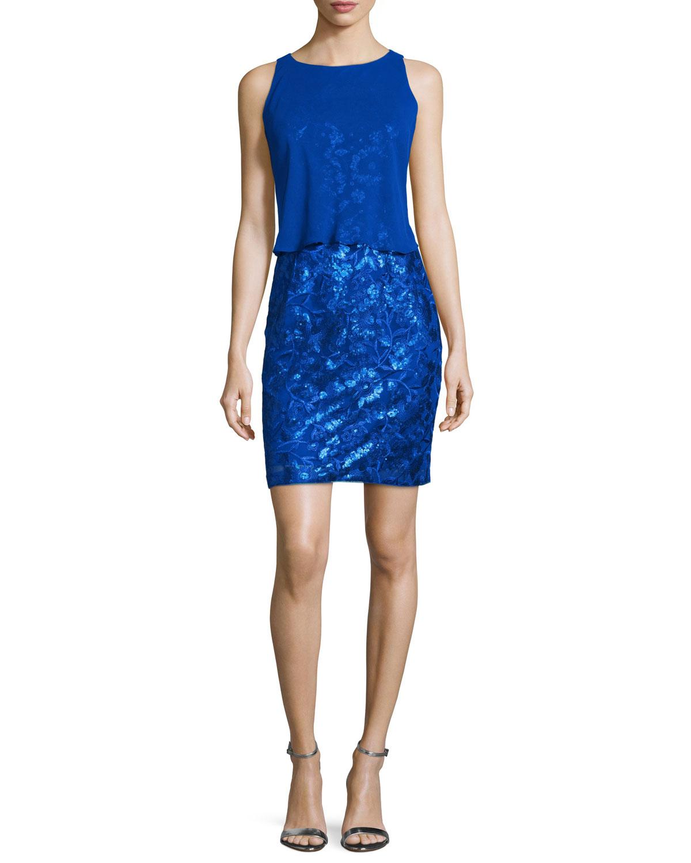 Overlay-Bodice Sequined Dress, Neptune